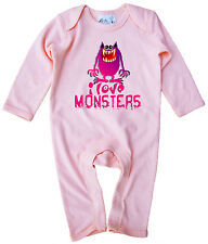 Dirty Fingers Baby Romper Suit Onesie I Love Monsters Halloween Clothes Costume