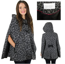 Jessica Simpson Gray Leopard Hooded Wool-Blend Cape Jacket Coat