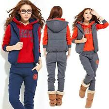 Vogue Womens Warm Hooded Hoodies Coat+Vest+Pants 3pcs Suit Sports Tracksuit New