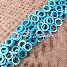 """15mm Natural Coin Ring Shell Mop Gemstone Beads For Jewelry Making Strand 14"""""""