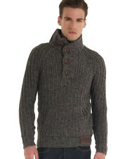 New Mens Superdry Trident Henley Grey Mix