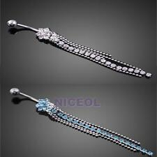 Surgical Steel Rhinestone Flower Long Beads Tassels Belly Navel Button Ring NI5L