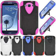 For Samsung Galaxy S 3 i9300 Advanced Hybrid Y Kickstand Rubber Hard Case Cover