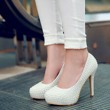 sexy ladies white wedding shoes heels pumps court dress shoes pearl evening wear