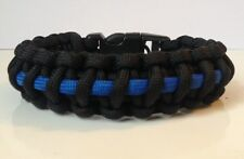 Police Blue Line Tactical 550 Paracord Survival Bracelet w/ Handcuff Key Buckle