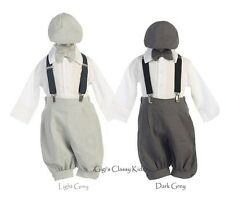 New Baby Toddlers Boys Grey Gray  Knickers Vintage Suit Outfit Christmas Easter