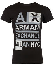 ARMANI EXCHANGE AX Mens T-Shirt STACKED Slim Fit BLACK Casual Designer M-XL $48