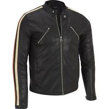 Wilsons Leather Mens Stripe Sleeve Faux-Leather Jacket