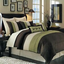 8pc Sage/Chocolate/Ivory Pintuck Striped Comforter Set Full Queen King Cal King