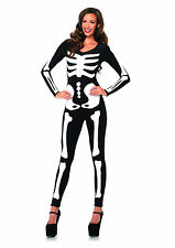 Sexy Glow In The Dark Skeletons Catsuit Jumpsuit Outfit Adult Halloween Costume