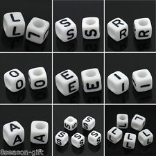 500Pcs White Cube Alphabet Single Letter Beads