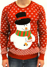 Adult R Jumper Ugly Christmas Sweater Holiday Funny Winter Happy Snowman Carrot