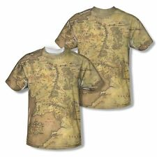 New Lord of the Rings Middle Earth Map Vibrant Sublimation TShirt Sizes S-3XL