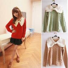 Women's Girls Doll Big BowKnot Collar Casual Knitwear Candy Color Cardigan Tops