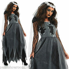 Ladies Corpse Bride Zombie Fancy Dress Halloween Costume + Plus Size