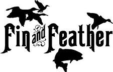 """Fin and Feather - 9"""" x 5.75"""" - Choose Color - Vinyl Decal Sticker #3243"""