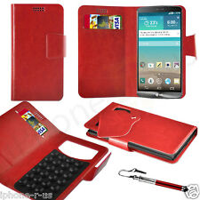 Red Leather Suction Wallet Flip Mobile Phone Case For Various LG Phones