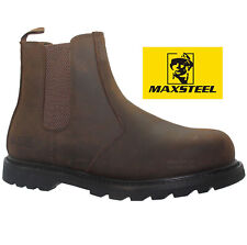 MENS BROWN SLIP ON CHELSEA DEALER SAFETY BOOTS WORK BOOTS SHOES STEEL TOE CAP