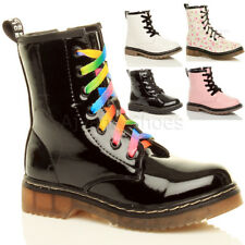 GIRLS KIDS CHILDRENS LOW HEEL LACE UP ZIP COMBAT BIKER ANKLE BOOTS SIZE