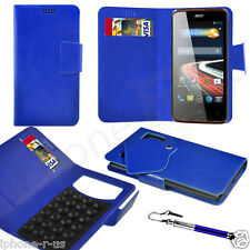 Blue Leather Suction Wallet Flip Mobile Phone Case For Various Acer Models