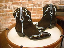 Vaneli Brown Suede Studded Jemmy Cowboy Ankle Boots New