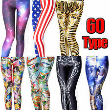 Sexy Women Graphic Print Legging Stretchy Pencil Leggings Pants Tights Trousers