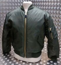 MA1 US Military Style Bomber Jacket MOD/Scooter/Bikers USAF Green-All Sizes -NEW