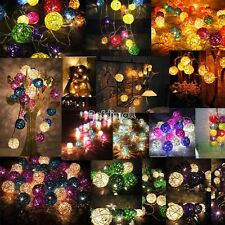 16 COTTON BALL FAIRY STRING LIGHTS PARTY PATIO Holiday WEDDING Bedroom DECOR