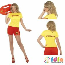 RED & YELLOW BAYWATCH BEACH TOP SHORTS - all sizes 8-18 - womens fancy dress