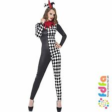 FEVER HARLEQUIN JESTER CATSUIT + HAT - all sizes 4-18 - womens fancy dress