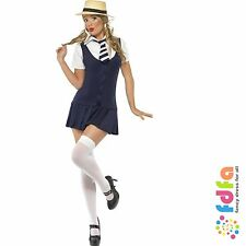 ST TRINIANS SCHOOLGIRL PINAFORE + HAT - all sizes 4-18 - womens fancy dress