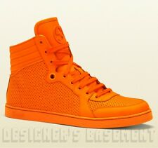 GUCCI Mens neon Orange CODA perforated Leather GG High Top Sneakers NIB Authentc