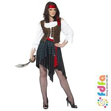 BROWN PIRATE LADY & WAISTCOAT & BANDANA - all sizes 8-26 - womens fancy dress