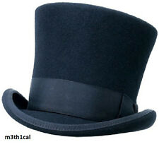Adult Black Wool Tall Gentlemens Top Hat Victorian Dickens Slash Costume Caroler