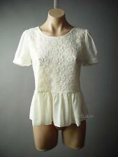 Ivory Romantic Embroidered Vtg-y Floral Lace Peplum Ruffle Top 104 mv Blouse S