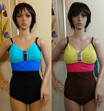NEW W DEFECT IT FIGURES black or brown color block buckle 1pc Swimsuit,12,14,16
