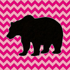 PINK CHEVRON Bear nursery bears wall art Home decor