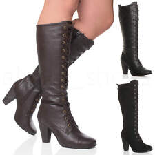 WOMENS LADIES HIGH CHUNKY HEEL LACE UP CALF KNEE MILITARY BIKER BOOTS SIZE