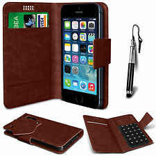 Brown Leather Suction Wallet Flip Mobile Phone Case For Various Sony Sets