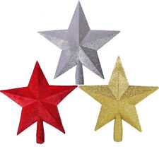 RED GOLD SILVER Glitter Star Christmas Tree Topper Decoration Christmas