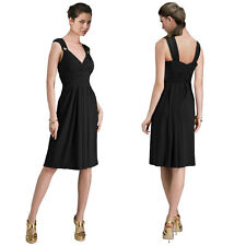 Light Shirred Stylish Knee Length Cocktail Party Day Dress Black
