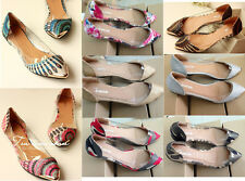 Hot Sale!!! Women's Casual Floral Print Metal Pointed Toe Flats Shoes US5-11