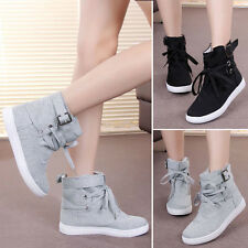 New Women Girls Canvas Sneakers Buckle Strap Lace Up High Top Sport Flats Shoes