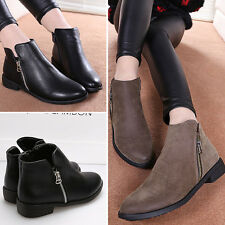 2014 Womens Flat Ankle Boots PU Leather Booties Low Heel Zip Up Boots Flat Shoes
