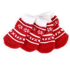 Christmas Snowflake Pet Dog Puppy Cat Non-Slip Skid Socks Boot Bootie S M L XL