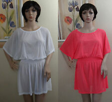 O'RAGEOUS mesh Bright Pink or white Tunic Dress see through swim Cover Up,S-2XL