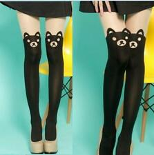 Spandex Sheer Opaque Cute Bear Faux Stockings Pantyhose Tights Slim Punk Rock