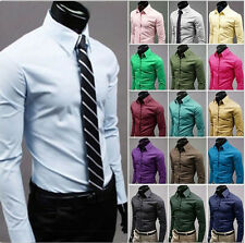 Men's Luxury Stylish Casual Formal Long Sleeve Slim Fit Dress Shirts 17 Colors