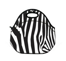 Zebra Insulated Neoprene Lunch Tote Bag Picnic Bag Cooler Bag with Zip & Handles