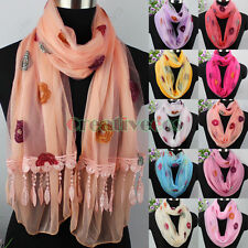 Embroidery Floral Mesh Sheer Lace Trim Tassel 2-Layer Long Scarf/Infinity Scarf